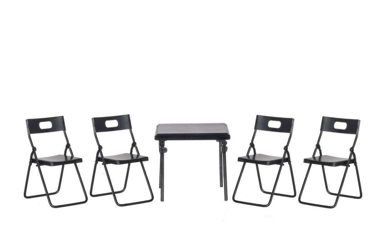 Dollhouse Miniature Folding Table Chairs Set 5 Pc Black Metal T4247 Metal Folding Table Metal Folding Chairs Dollhouse Miniatures