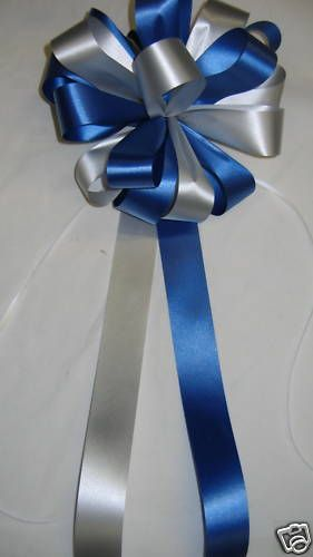 Silver Royal Blue Pew Bows Ribbon Wedding Decorations Church Aisle