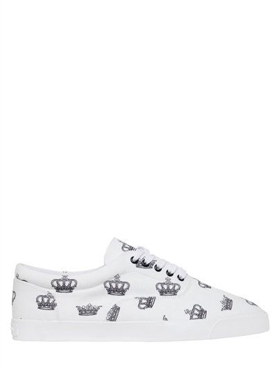 DOLCE   GABBANA CROWN PRINTED COTTON CANVAS SNEAKERS, WHITE.  dolcegabbana   shoes  sneakers 58960d8fbbe3