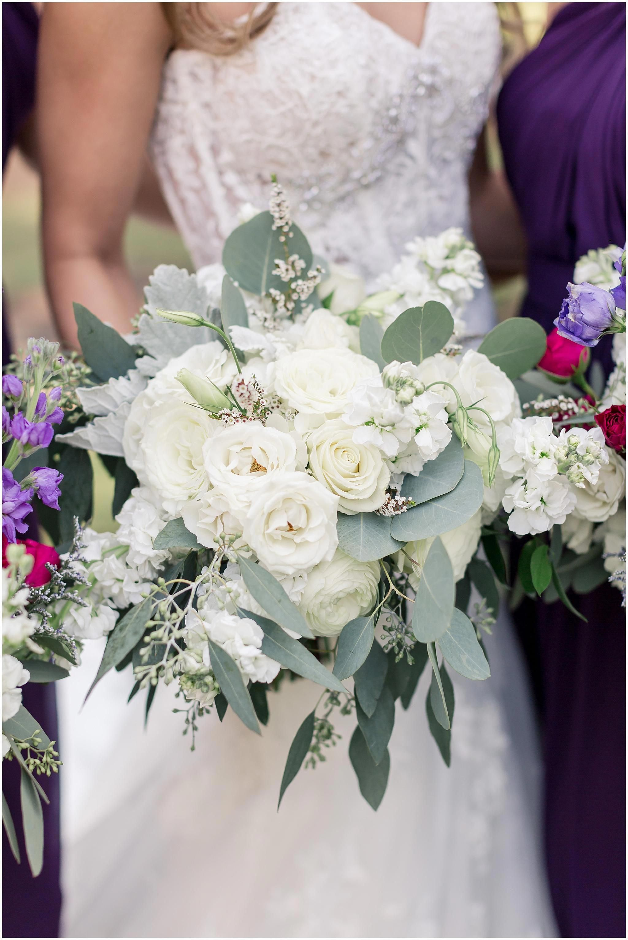 White Wedding Bouquet Eucalyptus Greenery Roses Ranunculus Baby Breath Seeded Eucalyp White Wedding Bouquets White Roses Wedding Babys Breath Bouquet Wedding