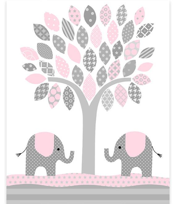 Pink Elephant Decor Baby Nursery