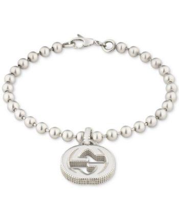07afd8277 Gucci Women's Interlocking G Logo Beaded Charm Bracelet in Sterling Silver  - Silver