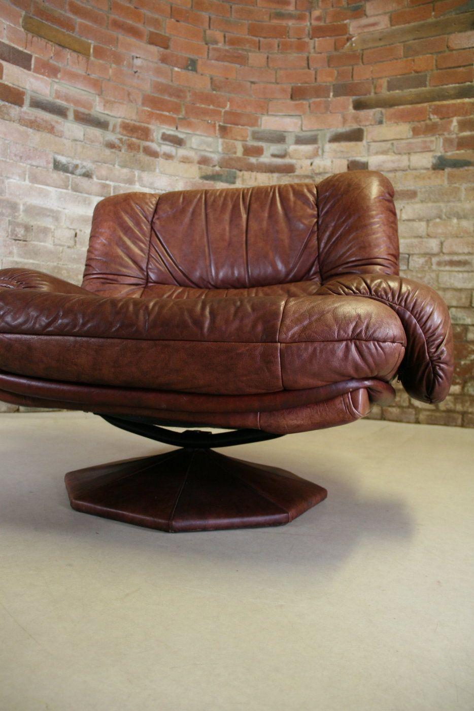 1970s big swedish leather swivel vintage egg armchair