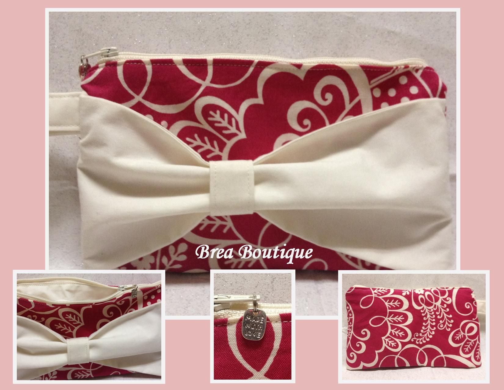 "Bow Wristlet- Made with Vera Bradley ""Twirly Birds Pink"" fabric by Brea Boutique"
