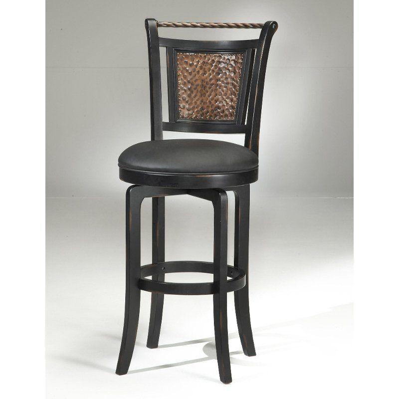 Amazing Copper Metal Back Black Wood Frame Swivel Bar Stool Dailytribune Chair Design For Home Dailytribuneorg