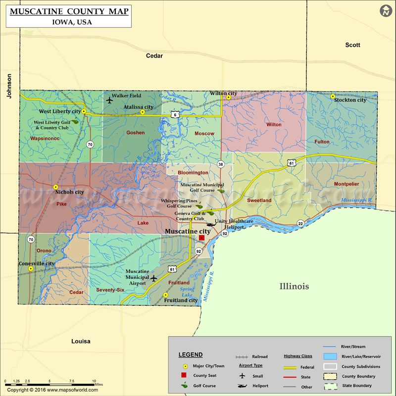 Muscatine County Map For Free Download With Images County Map