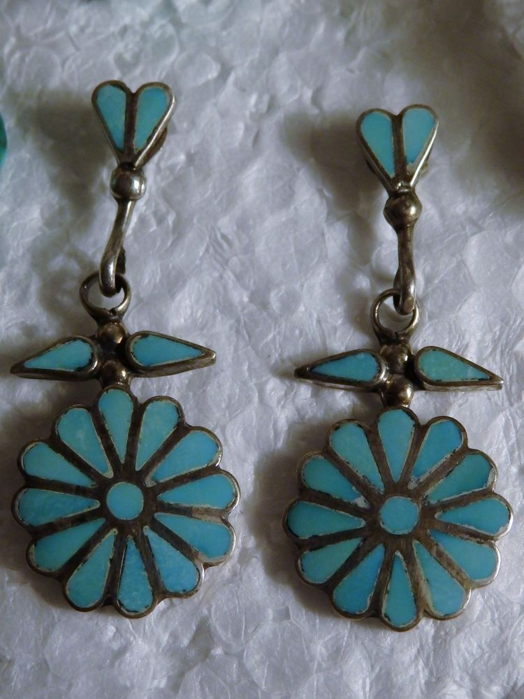 RARE Old Pawn ZUNI TURQUOISE MOUNTAIN Gem inlay STERLING Post FLOWER EARRINGS $199.00