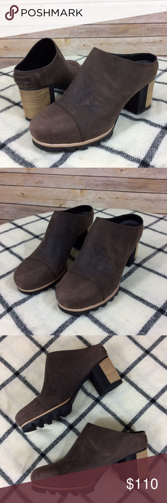 "Sorel Addington Mule 7.5 Leather Open Back Shoes Only worn one time, they have some light scratching from storage--see photos. Size 7.5. 2.75"" stacked heel. Sorel Shoes Mules & Clogs"