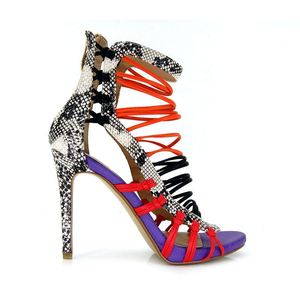 exe shoes sandalia animal print tacon fino morado y coral de tiras ... fd0d1a782855