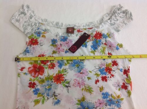 NWT-Language-Los-Angeles-Anthropologie-S-Multi-color-Floral-Cap-Sleeve-Top