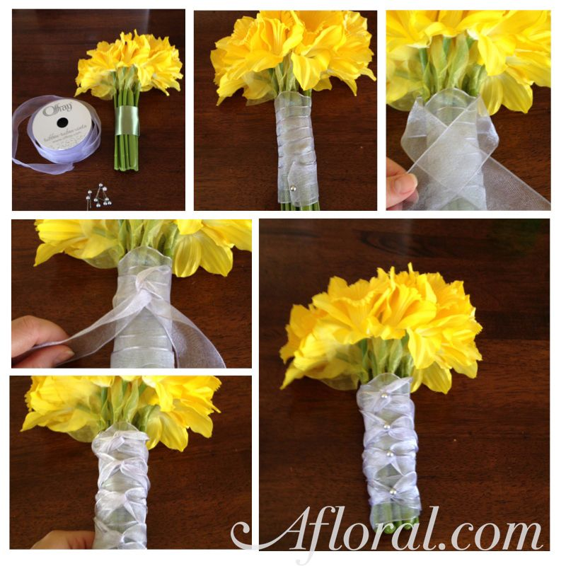 How To Wrap A Bouquet With Ribbon Braided Bouquet Wrap Diy