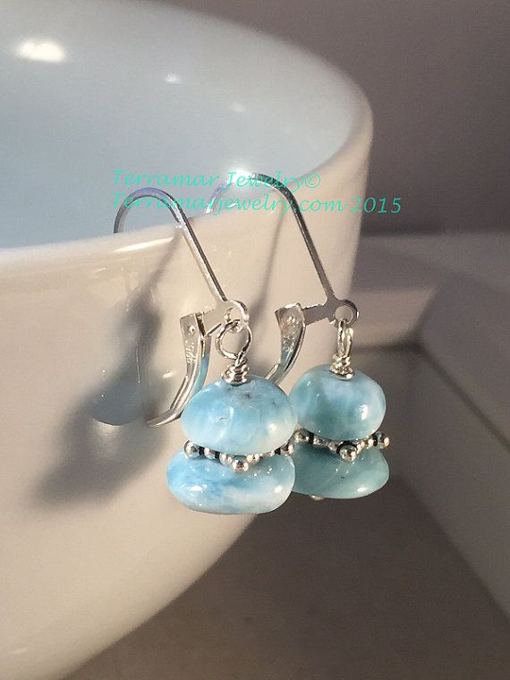 Larimar Earrings Nuggets of Genuine Larimar by TerraMarJewelry