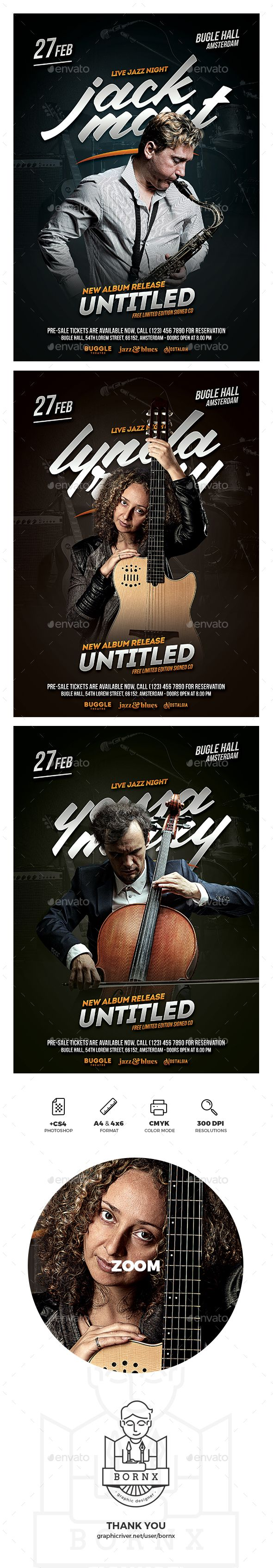 Jazz Musician Flyer Template For Photoshop With A4 4x6 Flyer