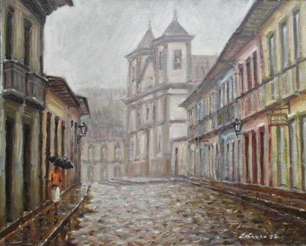 Rua Direita em dia de chuva, Mariana, 2015 Cássio Antunes (Brasil, contemporâneo) óleo sobre madeira, 51 x 60 cm