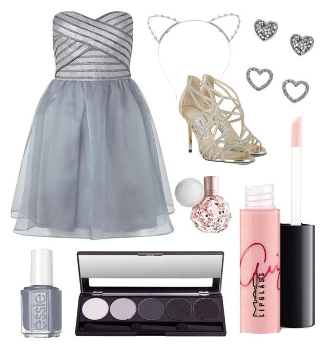 """prom by ariana grande"" by micar0 ❤ liked on Polyvore featuring Lipsy, MAC Cosmetics, Jimmy Choo and Essie"