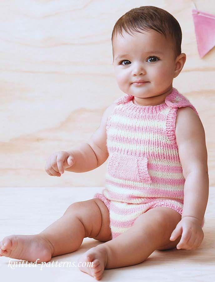 Baby romper knitting pattern free | Baby | Pinterest | Tutoriales ...