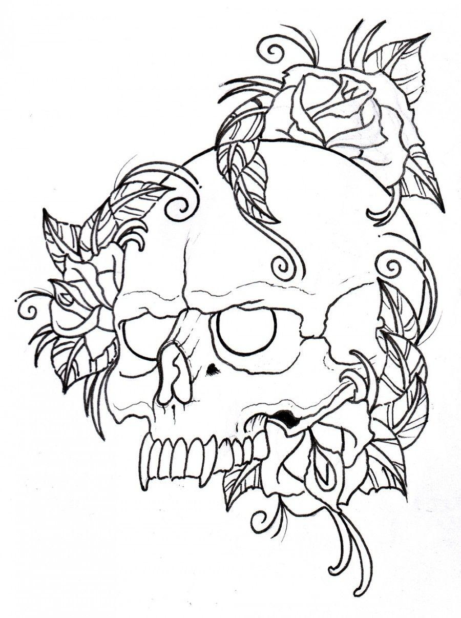 Skull and wings tattoo design drawn with color pencils and marker ...