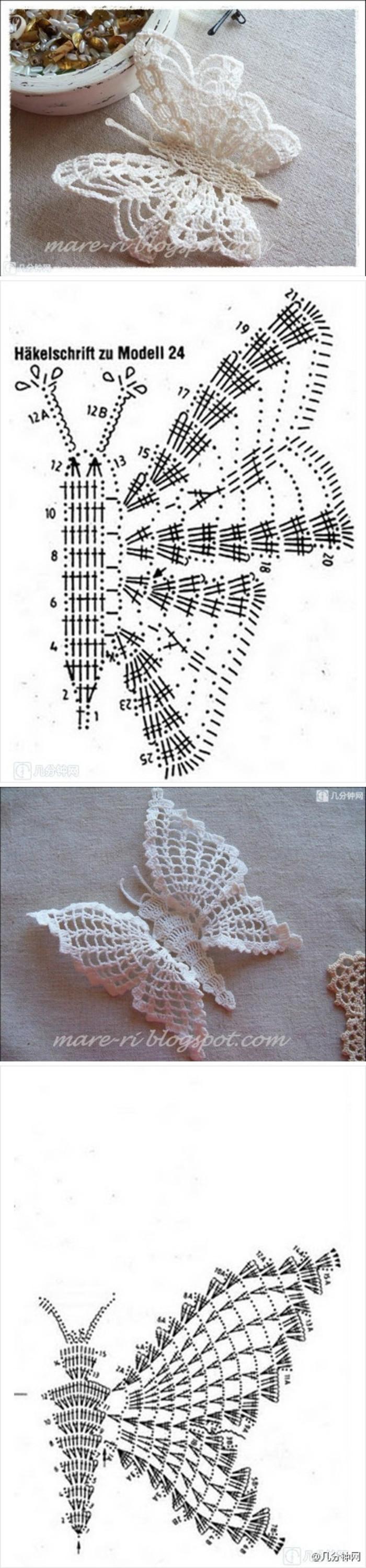 唯美的钩针蝴蝶,附针法符号 | manualidades | Pinterest | Accesorios