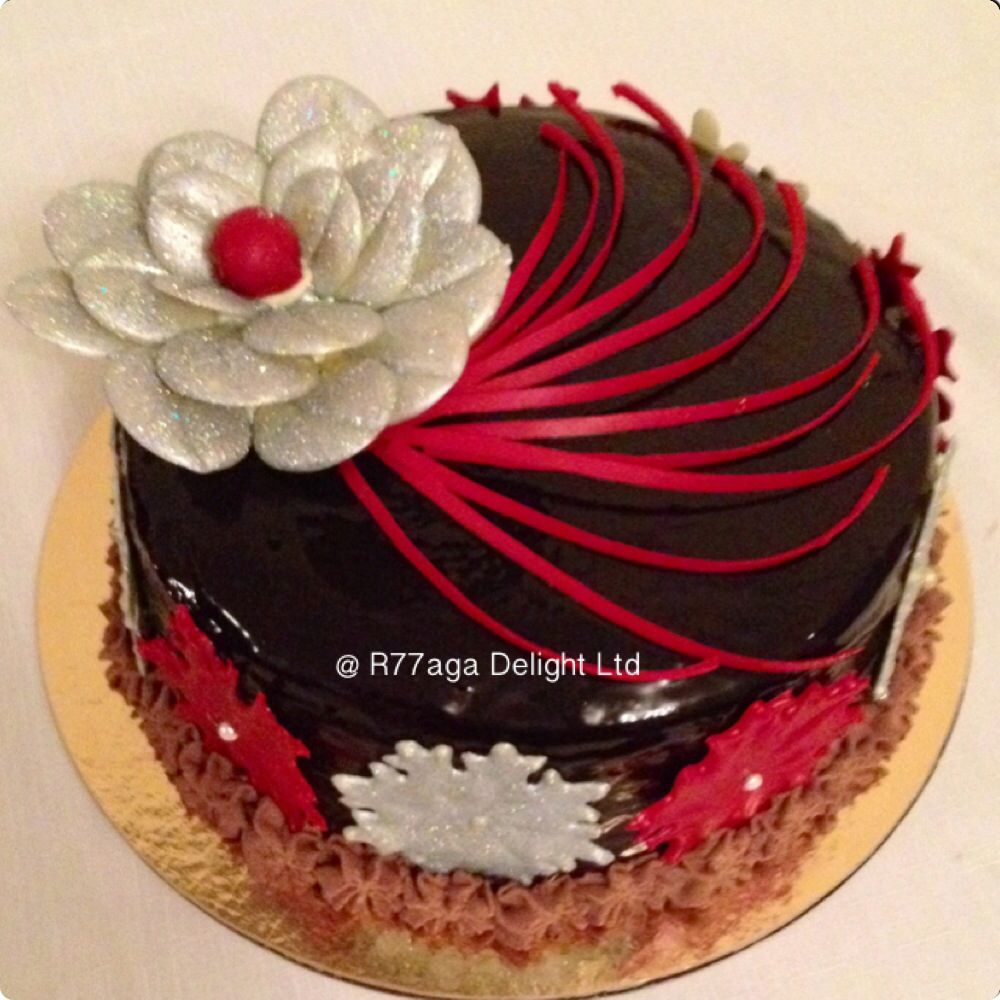 Chocolate Sponge Cake Soaked With Rum Syrup Chocolate Fresh Cream Decorated With Hand Designed