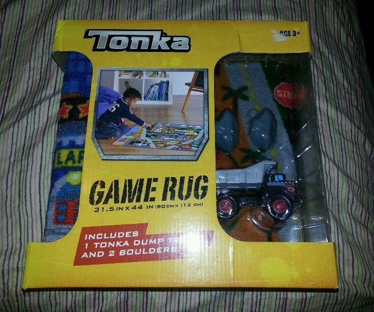 Tonka Floor Rug Play Mat W 1 Truck 2 Boulders Boys Room Decor Toy New Hasbro