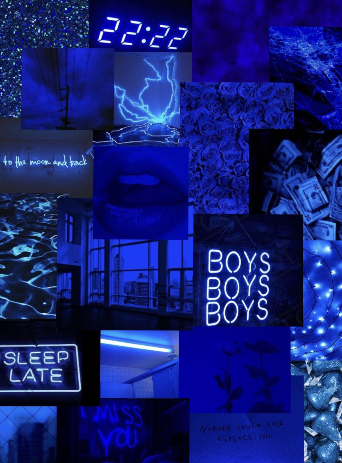 Dark Blue Collage Royal Blue Wallpaper Aesthetic Iphone Wallpaper Dark Wallpaper Iphone