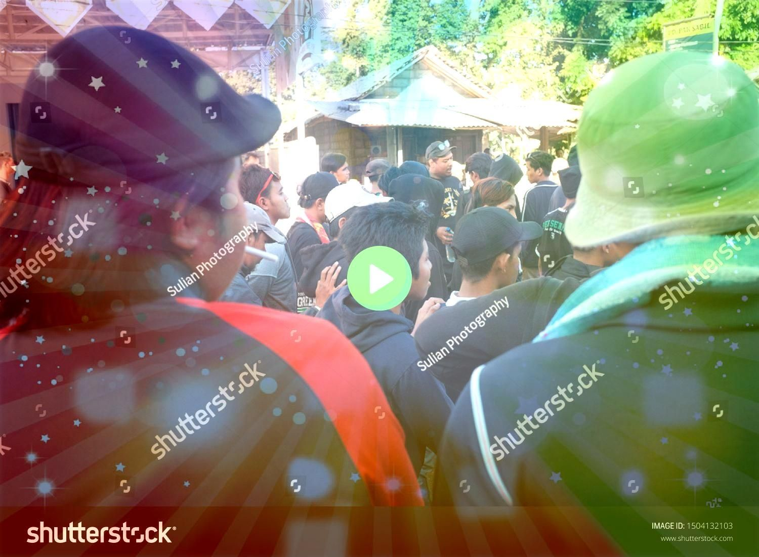 Indonesia  July 13 2019 View of crowd of people walking down the street in busy rush hour Yogyakarta Indonesia  July 13 2019 View of crowd of people walking down the stre...