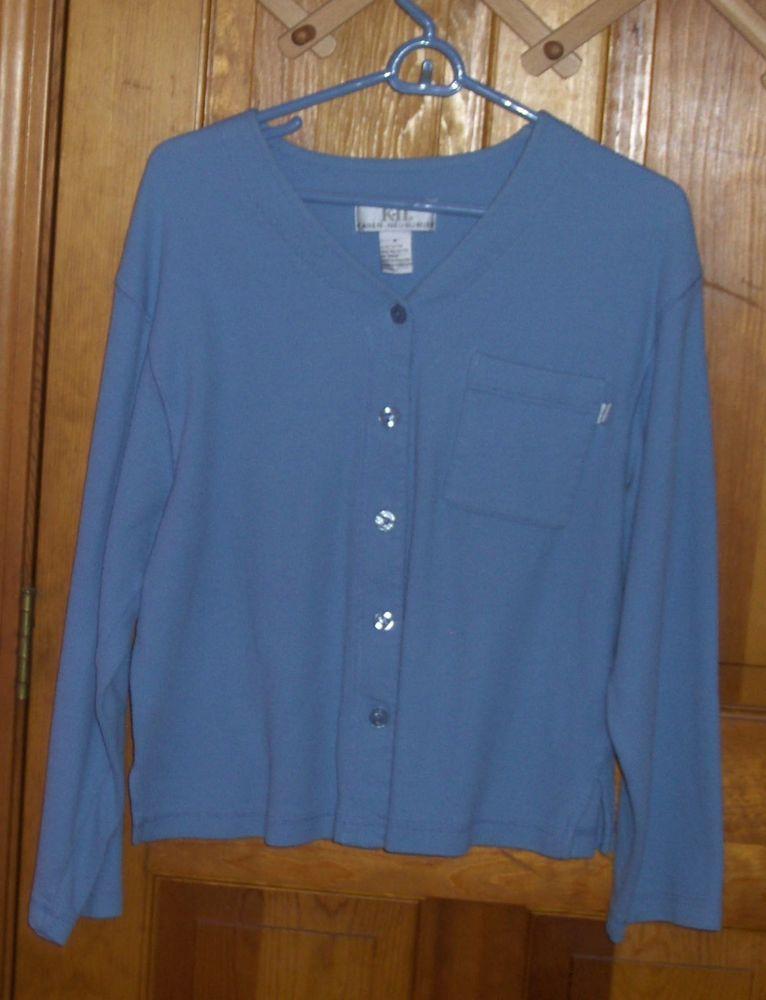 Karen Neuburger Coverall Size M 10 Cardigan Sky Blue Ribbed V Neck Cardigan #KarenNeuburger #Cardigan #Alloccasion