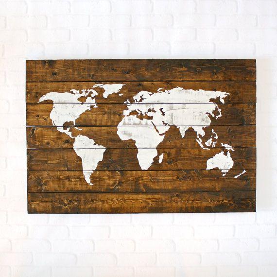 Large world map world map push pin wood signs gift for men wood world map wood world map wall art world map wall art world gumiabroncs Gallery