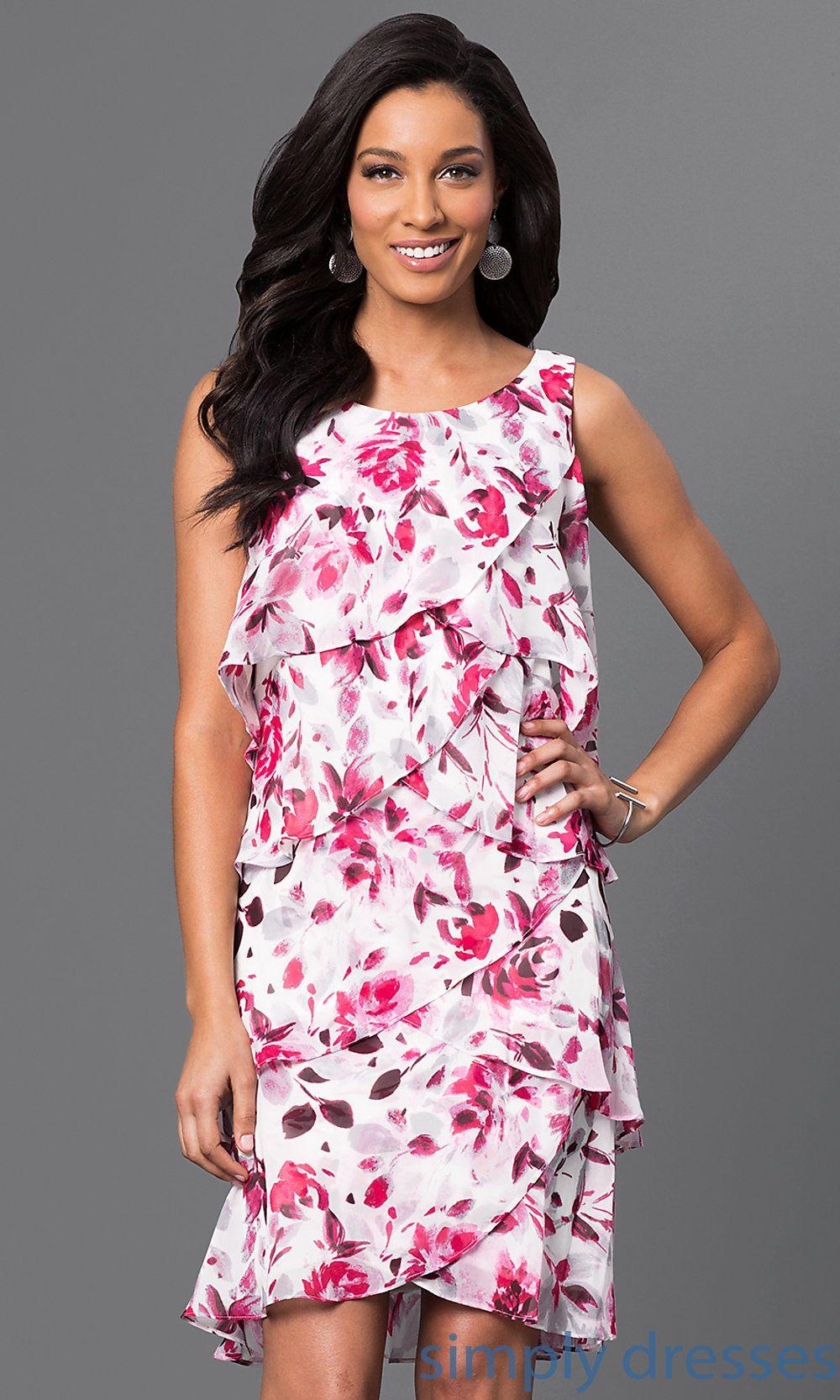 Floralprint tiered kneelength dress cruise dress homecoming