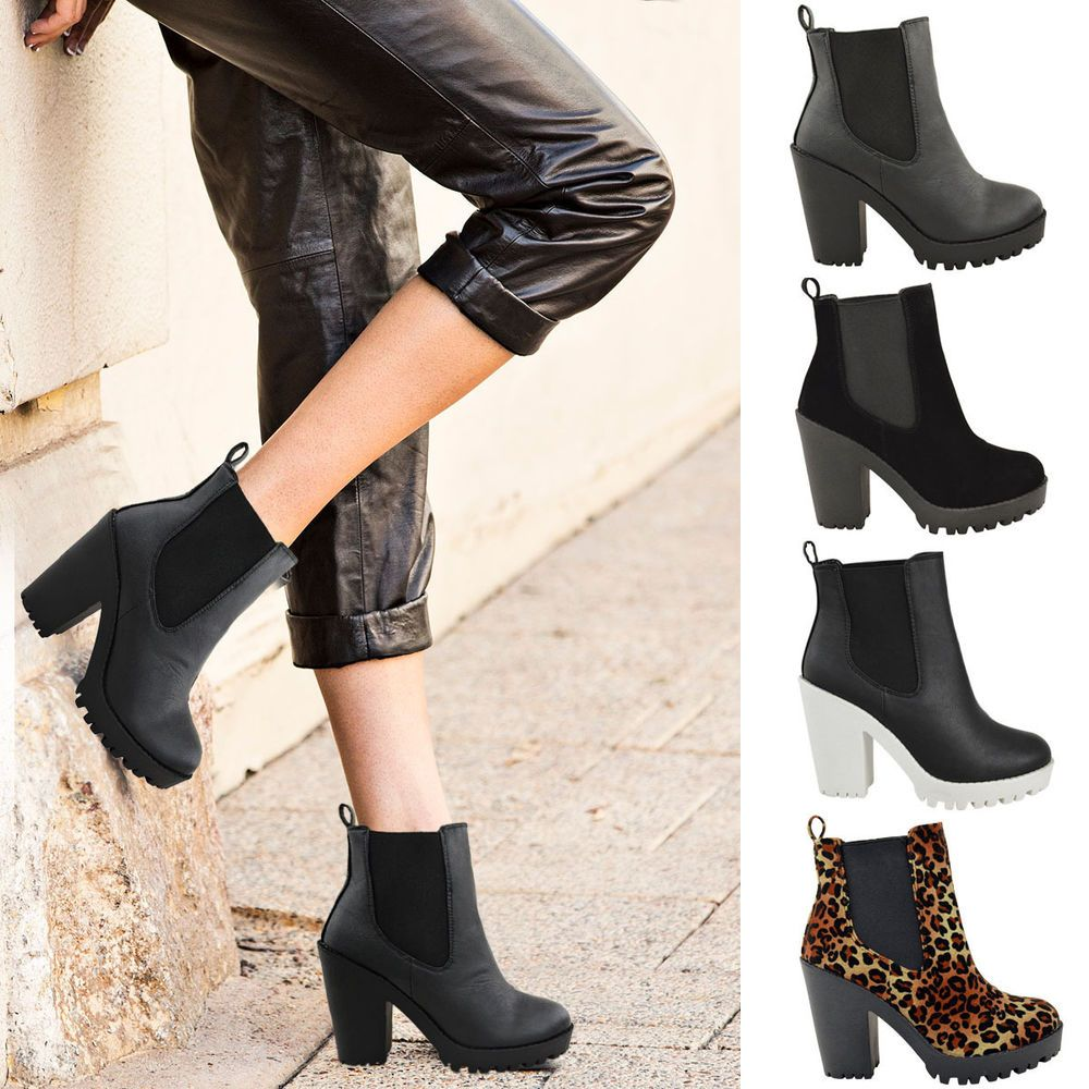 f7360c2638 Womens Chunky Cleated Platform Sole Block High Heel Chelsea Ankle Boots  Shoes