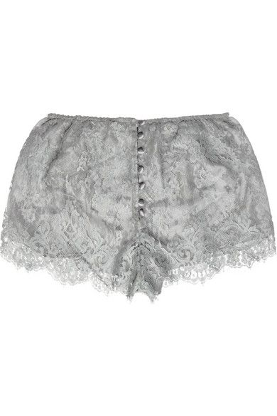 Rosamosario - Skyfall lace and silk-chiffon shorts
