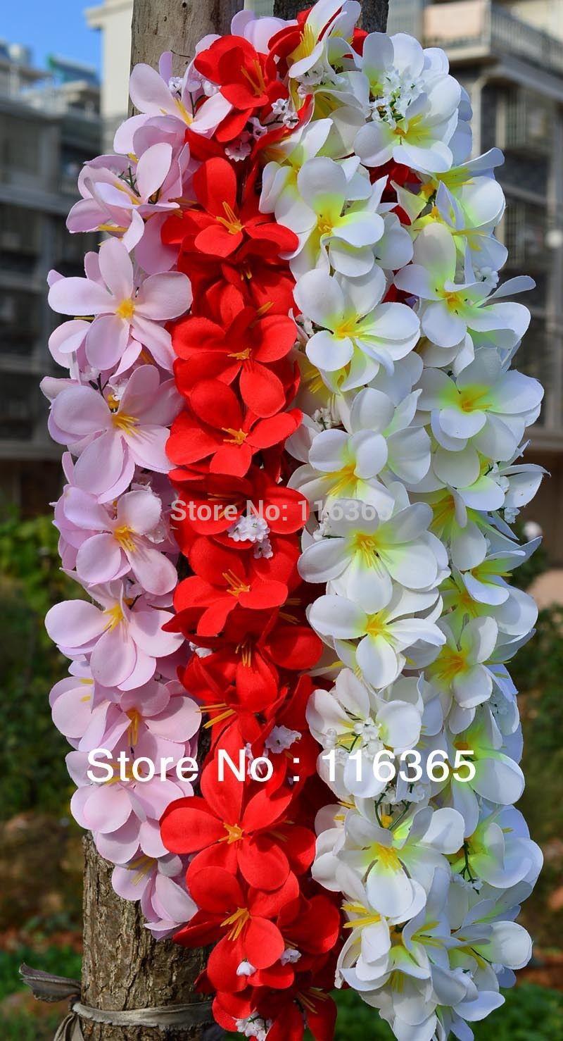 3pcspack Artificial Hawaiian Frangipani Flower Leis Wedding Garland