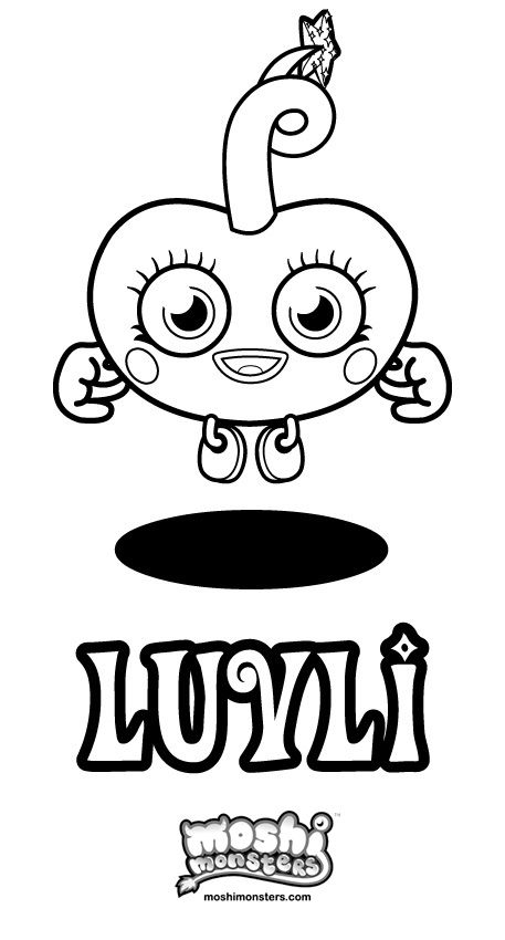 luvli colouring pic | moshi monster | Pinterest