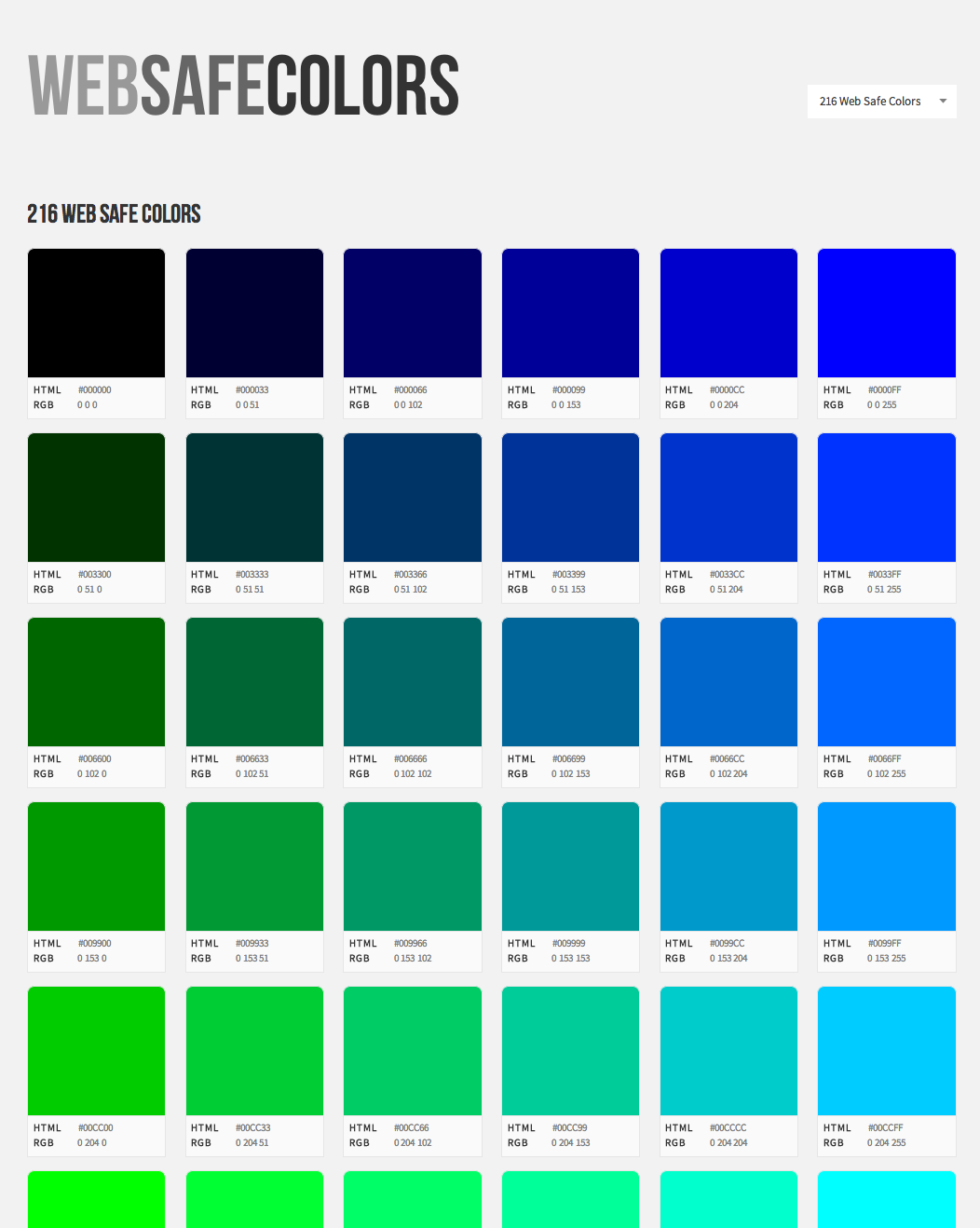Web safe colors list - Web Safe Colors Visual List Of All Web Colors With Hex Codes