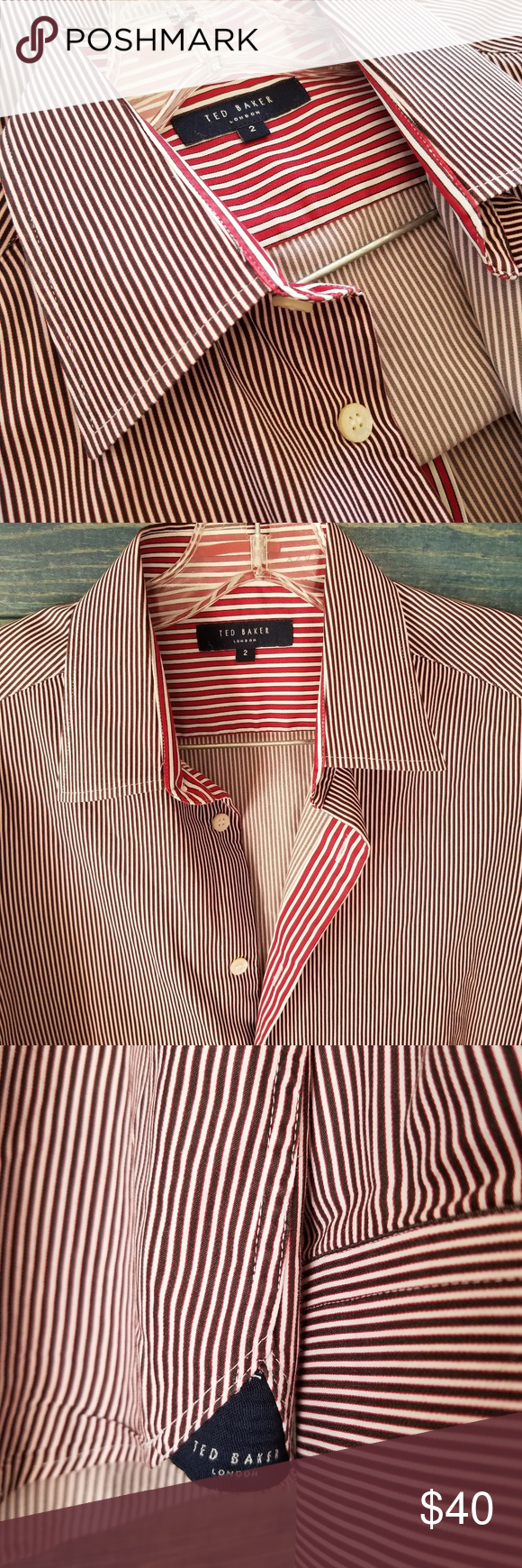 Ted Baker Striped Dress Shirt Striped Dress Ted Baker Shirts Red And White Stripes [ 1740 x 580 Pixel ]