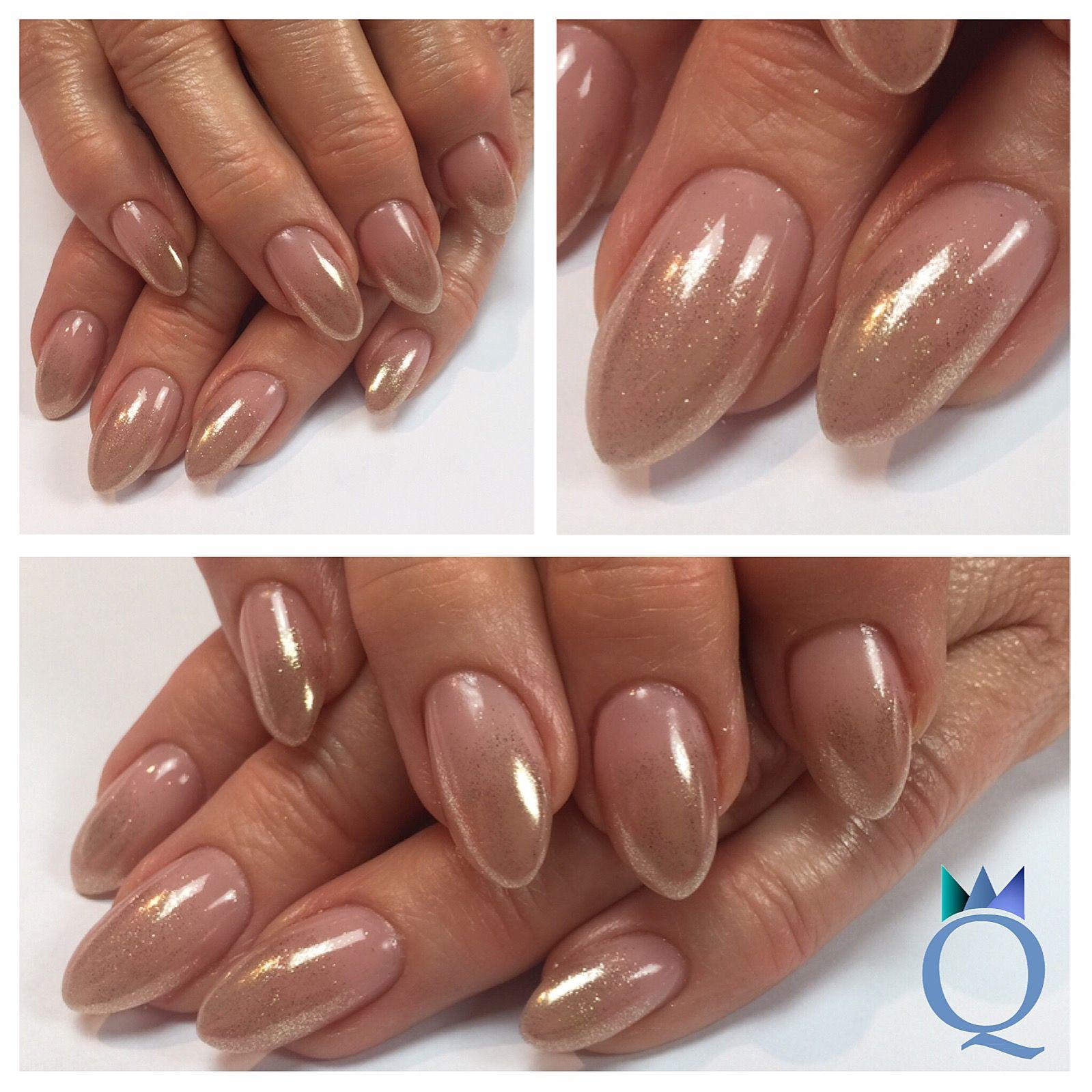 almondnails #gelnails #nails #goldchrome #ombre #mandelform ...
