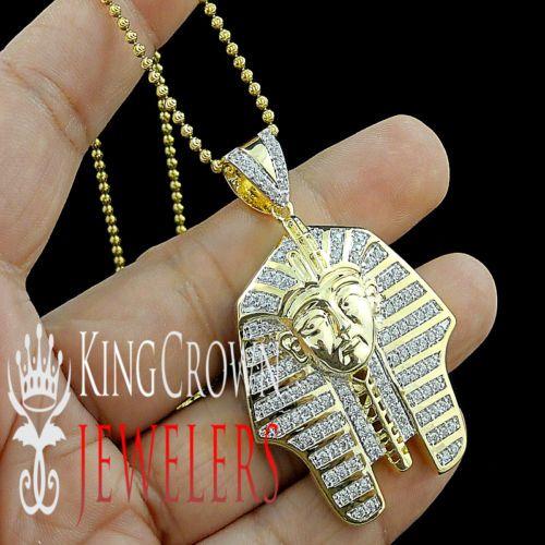 10K White Gold Silver Charm Real Lab Diamond Egyptian Pharaoh King Tut Pendant