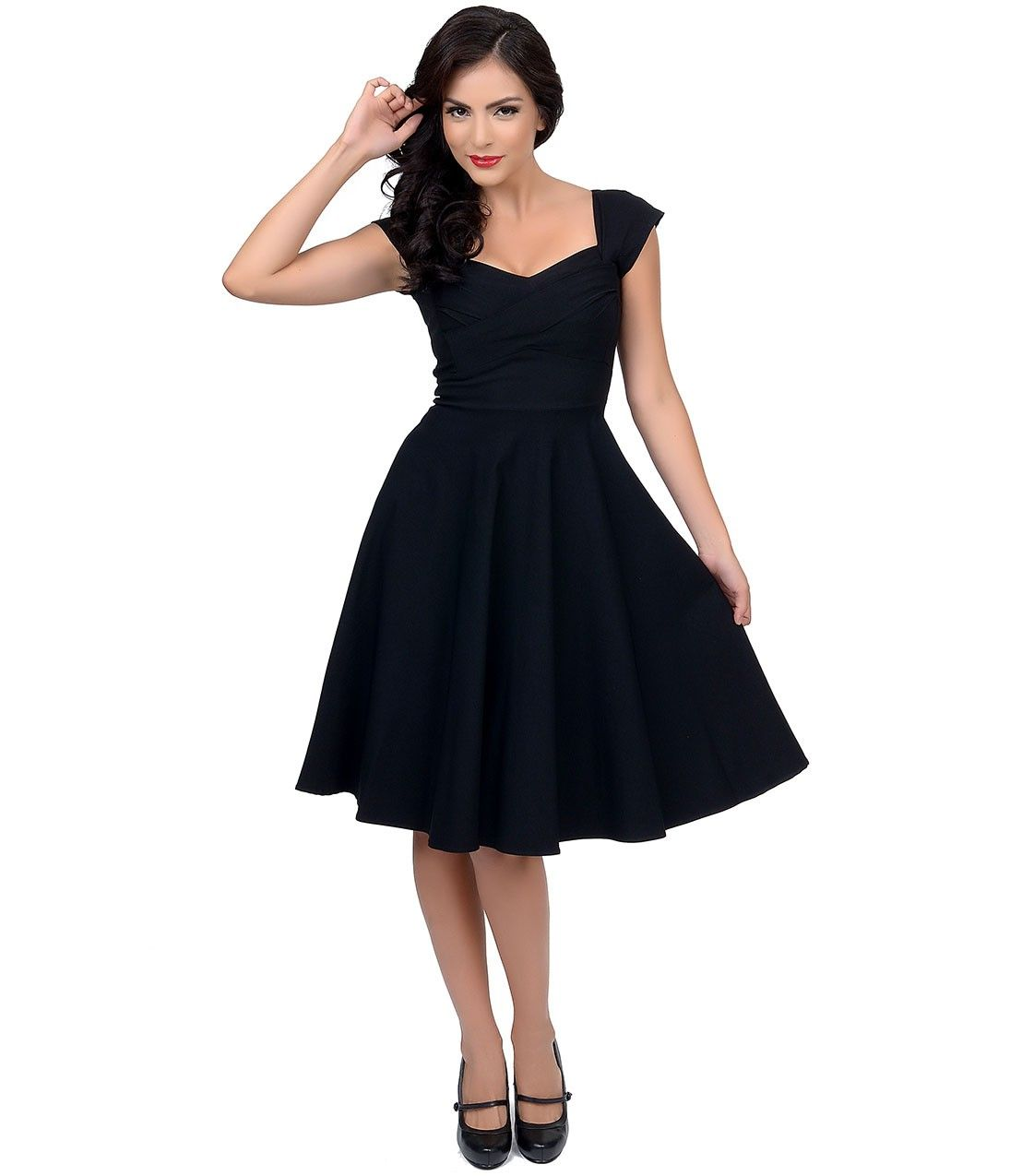 Stop staring mad style black cap sleeve swing dress raiment