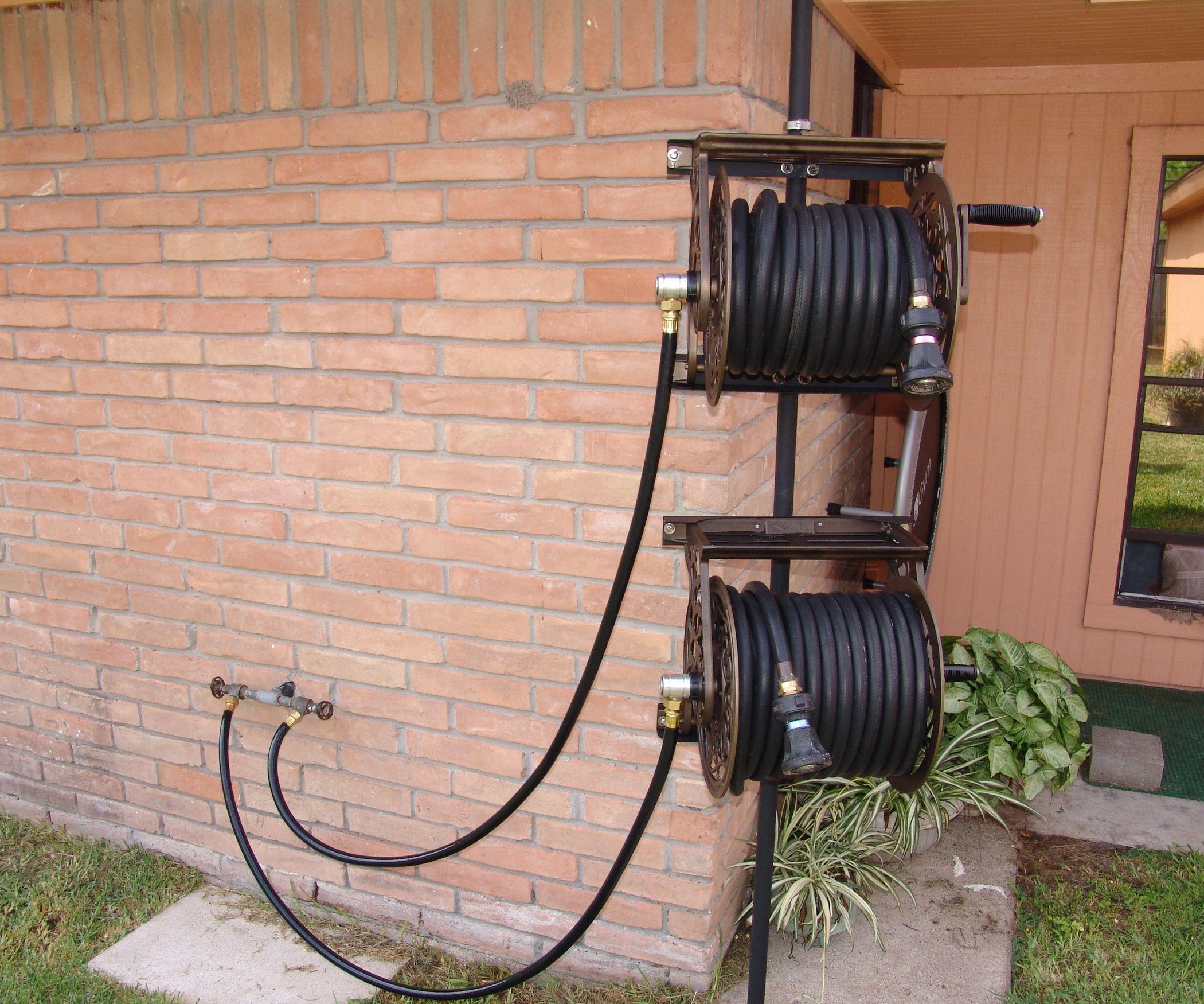 Dual Swiveling Pole Mounted Garden Hose Reels Garden Hose Reel Hose Reel Garden Hose