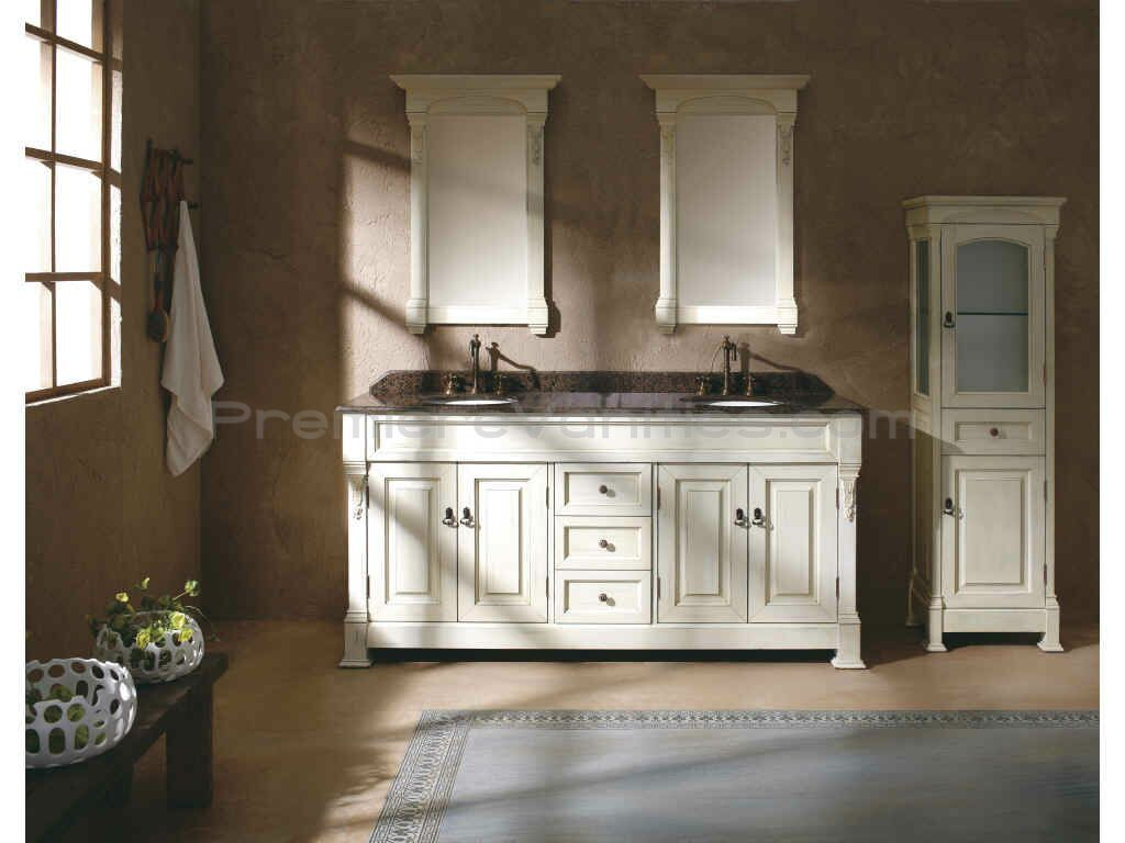 Double Vanity Cabinets | Home Double Bathroom Vanities Wooden 72 Inch  Antique White Double Sink .