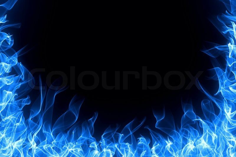 Blue gas fire flame on black background Stock Photo Colourbox on