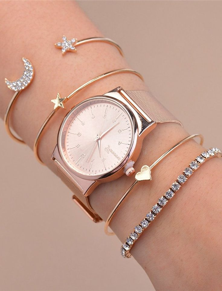 Lexi Crystal Star Moon Bangle Bracelet 4 Pieces Set