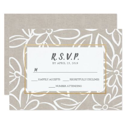 Modern floral canvas gold accent wedding rsvp card stopboris Image collections