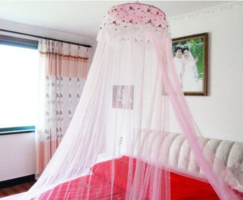 Housweety New Round Lace Curtain Dome Bed Canopy Netting Princess Mosquito  Net Pink Housweety,http