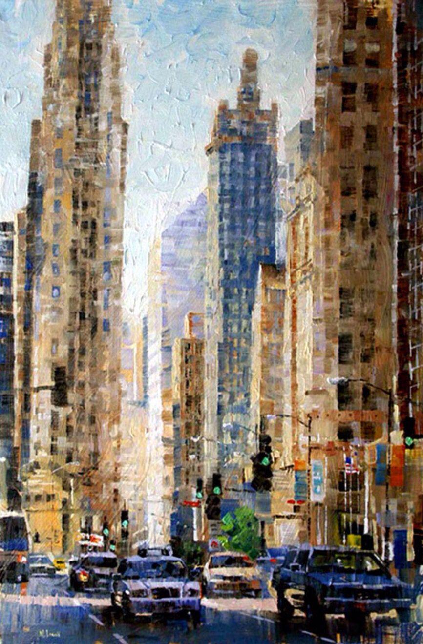 Big City Landscape Painting City