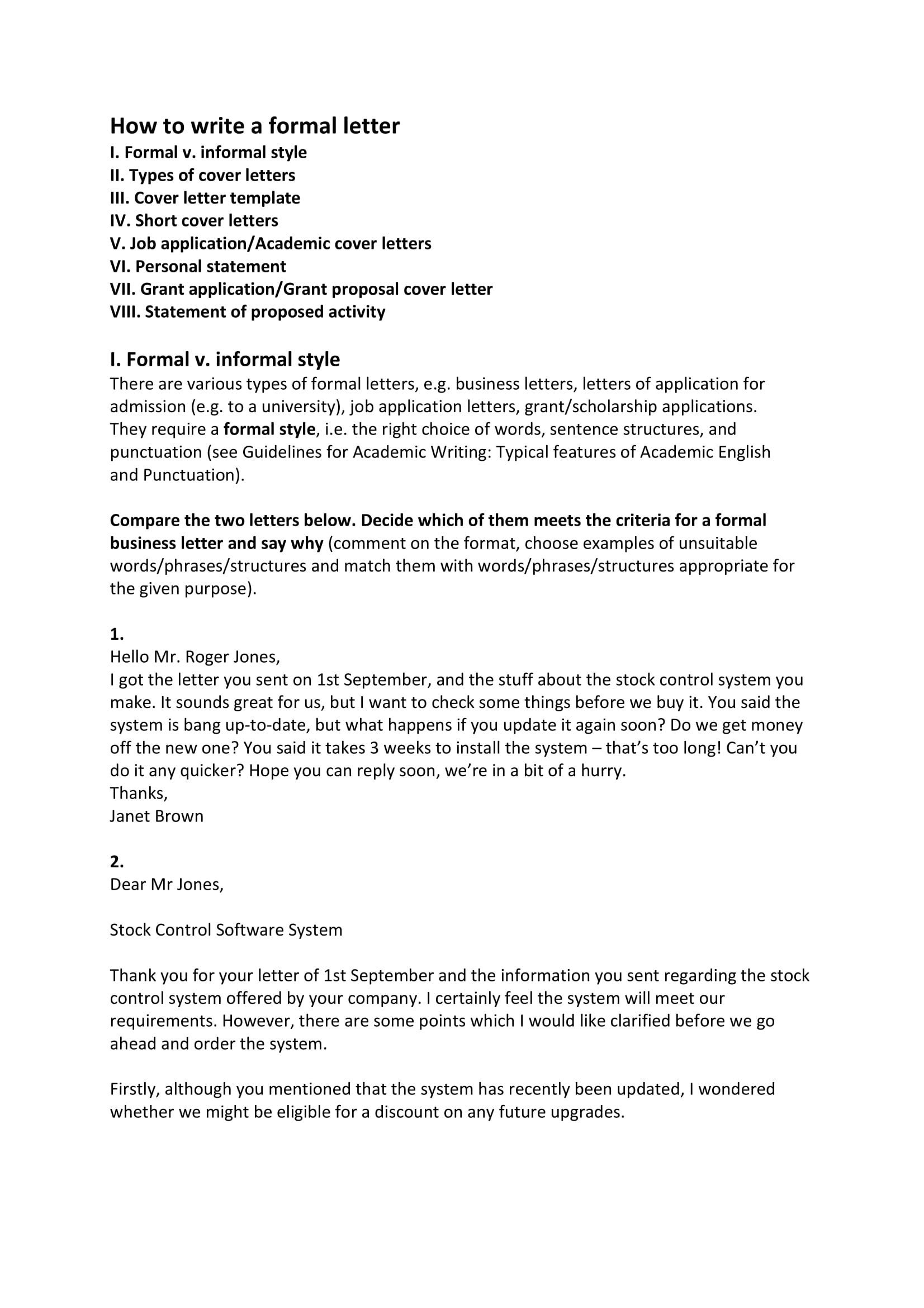 Informal Busines Letter Example In 2020 Template Formal Linguistic Personal Statement
