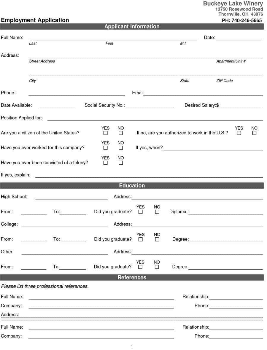 50 Free Employment / Job Application Form Templates