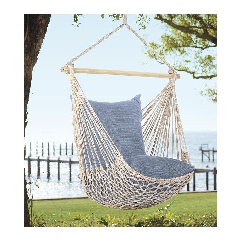 Hammock Cotton Polyester Hanging Rope Swing Outdoor Garden Tree Porch //w Pillows