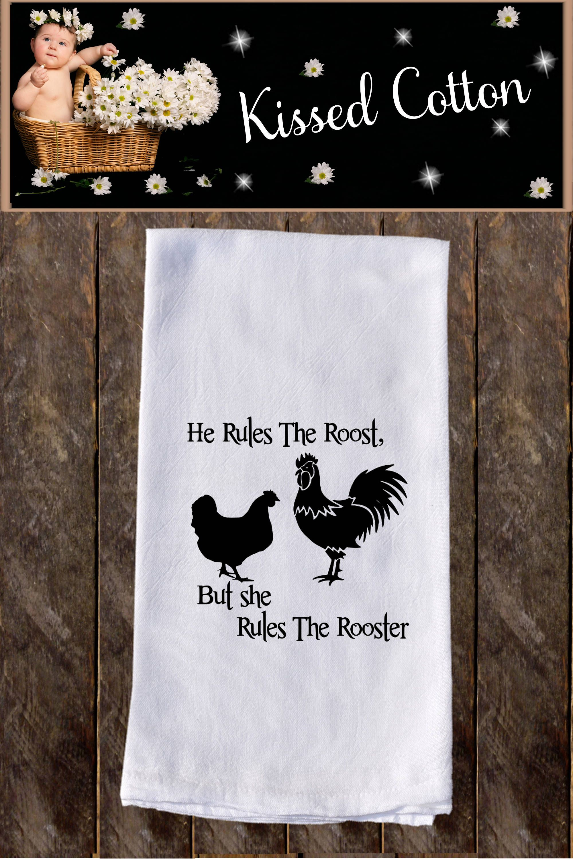She Rules The Rooster Funny Dish Towels , Funny Tea Towels , Flour Sack Towel Kitchen , Custom Tea Towel Kitchen Towel KC118 #dishtowels