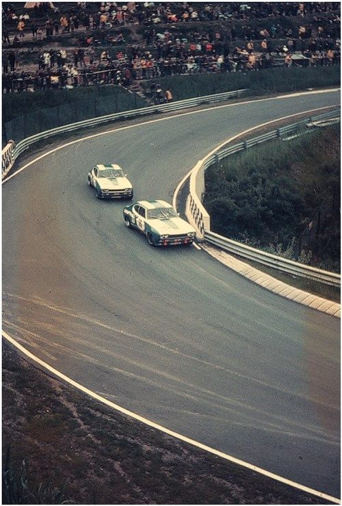 """The two 1972 Ford Capri 2600 RS at """"Wehrseifen"""", the slowest corner of the Nordschleife"""